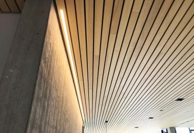 Derako lineair systeemplafond, houtsoort Ayons