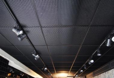 Strekmetaal afm. 900x900 mm in combinatie met mat zwart systeem
